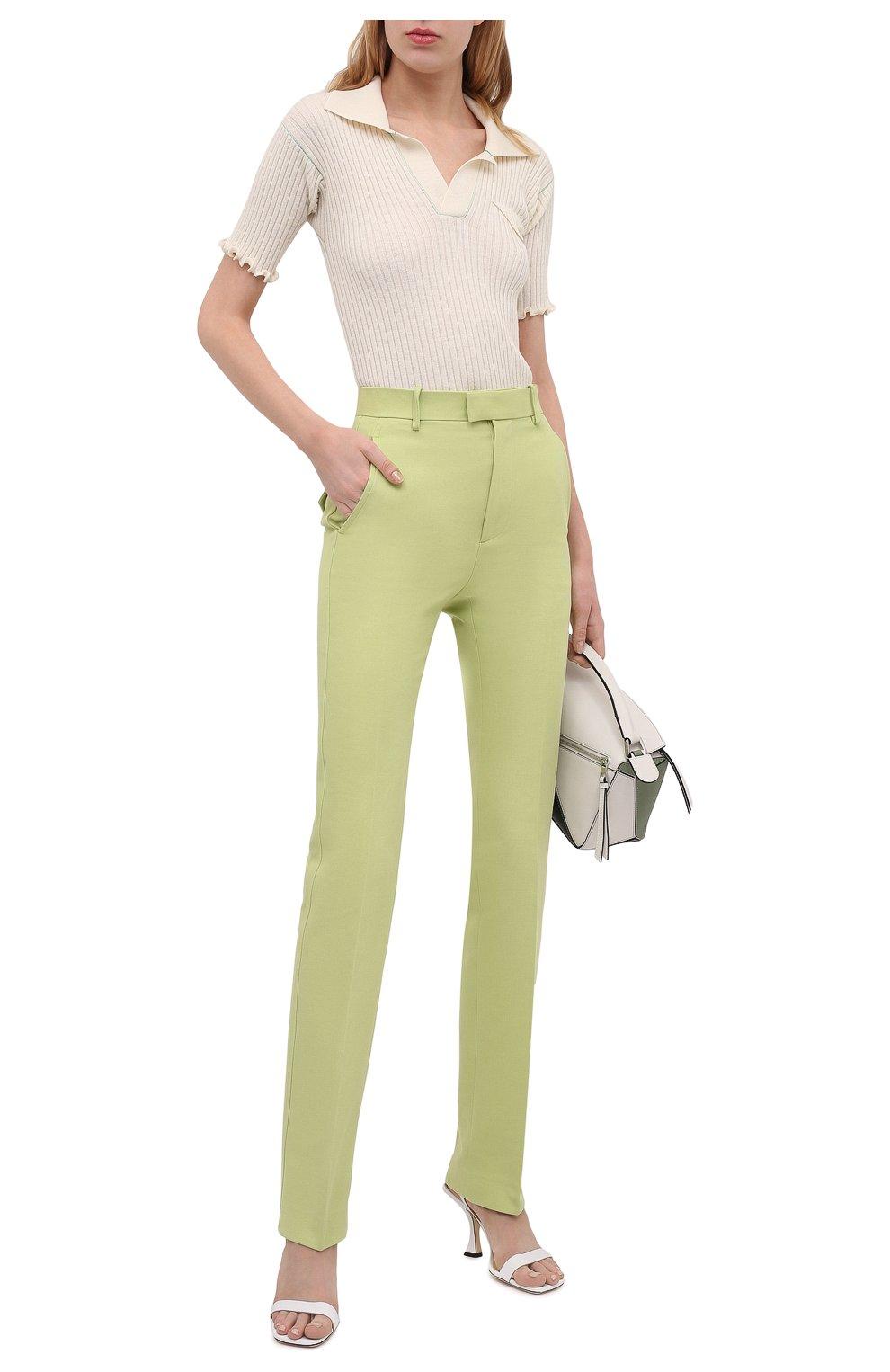 Женские хлопковые брюки BOTTEGA VENETA зеленого цвета, арт. 657740/V0BT0 | Фото 2