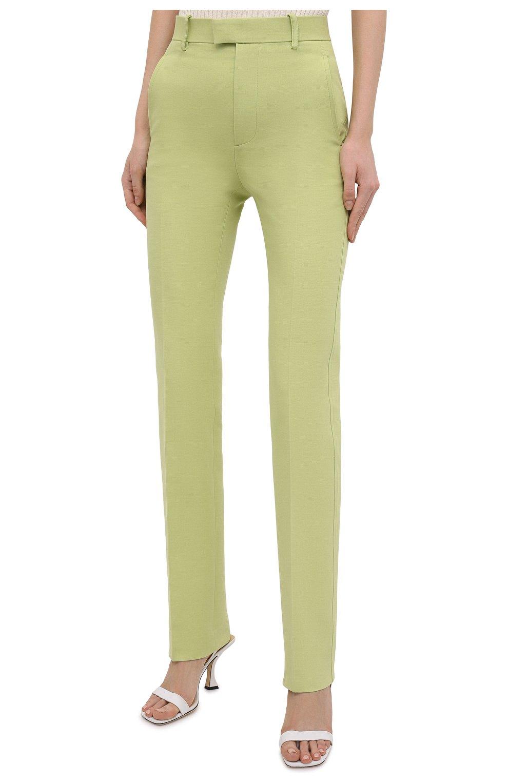 Женские хлопковые брюки BOTTEGA VENETA зеленого цвета, арт. 657740/V0BT0 | Фото 3