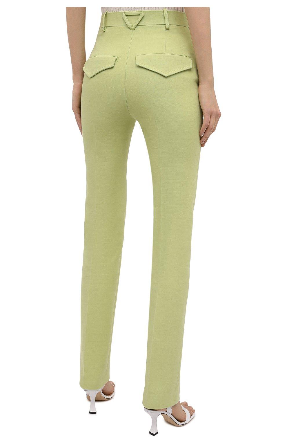Женские хлопковые брюки BOTTEGA VENETA зеленого цвета, арт. 657740/V0BT0 | Фото 4
