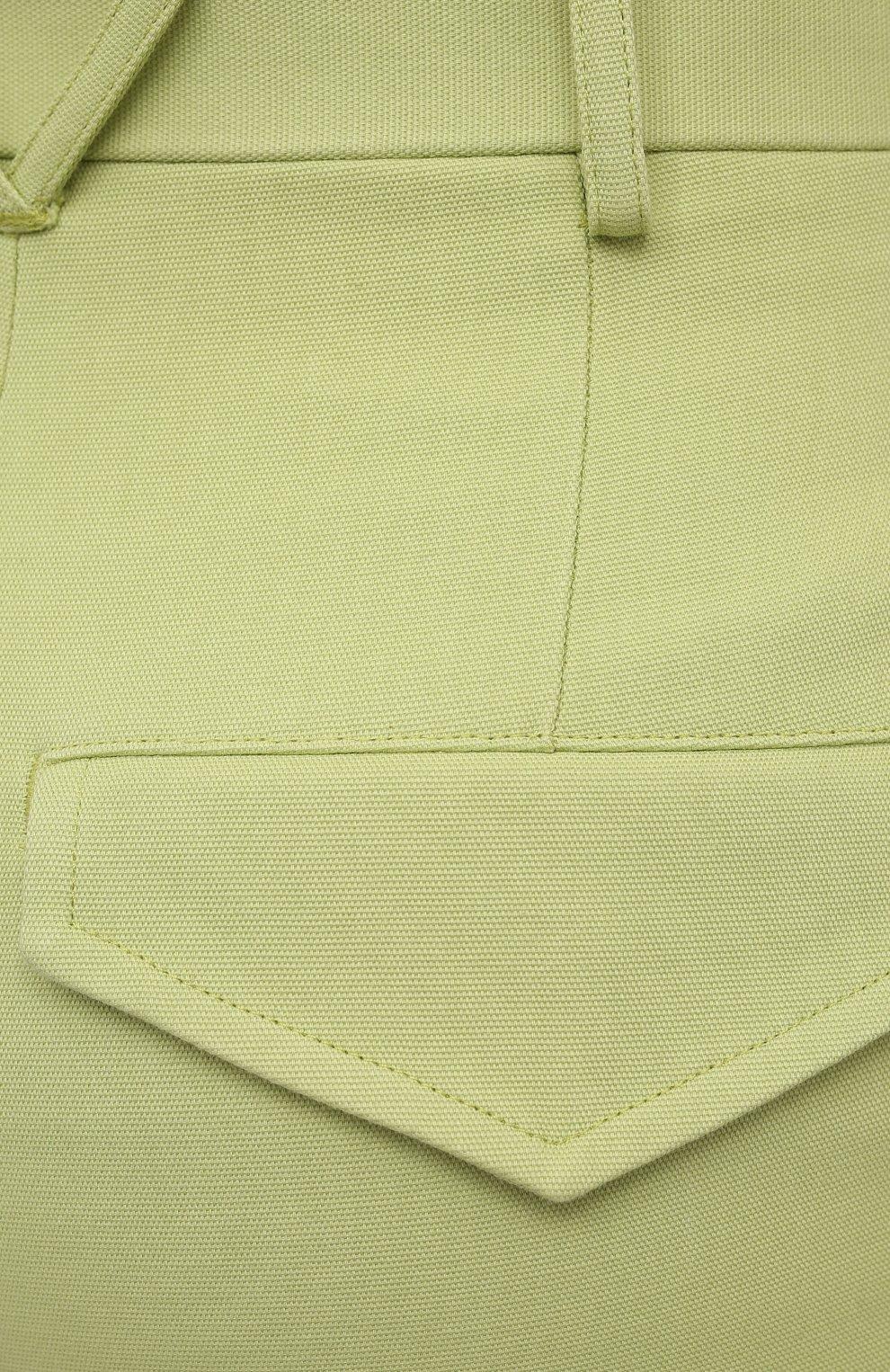 Женские хлопковые брюки BOTTEGA VENETA зеленого цвета, арт. 657740/V0BT0 | Фото 5