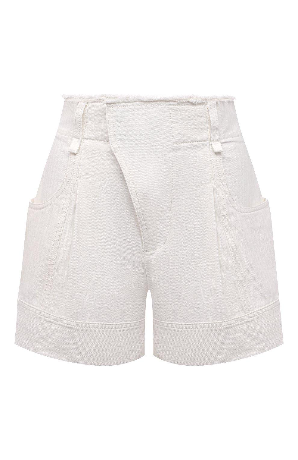 Женские джинсовые шорты CHLOÉ белого цвета, арт. CHC21UDS21048 | Фото 1 (Женское Кросс-КТ: Шорты-одежда; Кросс-КТ: Деним; Длина Ж (юбки, платья, шорты): Мини; Материал внешний: Хлопок; Стили: Романтичный)