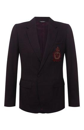 Мужской пиджак из шерсти и шелка DOLCE & GABBANA бордового цвета, арт. G2PN7Z/FU22A | Фото 1