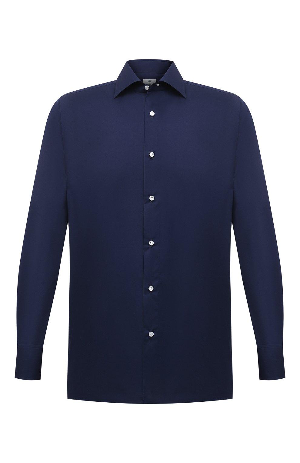 Мужская хлопковая сорочка LUIGI BORRELLI темно-синего цвета, арт. EV08/LUCIAN0/S10715   Фото 1 (Рукава: Длинные; Длина (для топов): Стандартные; Рубашки М: Slim Fit; Материал внешний: Хлопок; Стили: Классический; Случай: Формальный)