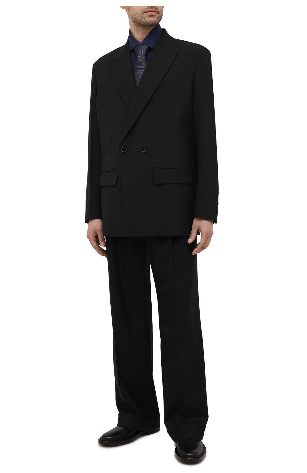 Мужская хлопковая сорочка LUIGI BORRELLI темно-синего цвета, арт. EV08/LUCIAN0/S10715   Фото 2 (Рукава: Длинные; Длина (для топов): Стандартные; Рубашки М: Slim Fit; Материал внешний: Хлопок; Стили: Классический; Случай: Формальный)