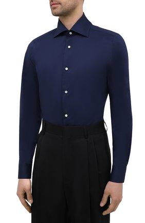 Мужская хлопковая сорочка LUIGI BORRELLI темно-синего цвета, арт. EV08/LUCIAN0/S10715   Фото 3 (Рукава: Длинные; Длина (для топов): Стандартные; Рубашки М: Slim Fit; Материал внешний: Хлопок; Стили: Классический; Случай: Формальный)