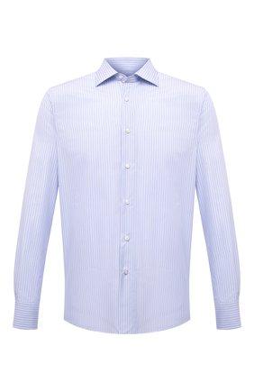 Мужская хлопковая сорочка CANALI голубого цвета, арт. 7718/GX02201 | Фото 1 (Рубашки М: Regular Fit; Принт: Полоска; Рукава: Длинные; Длина (для топов): Стандартные; Случай: Формальный; Манжеты: На пуговицах; Материал внешний: Хлопок; Воротник: Акула; Стили: Классический)