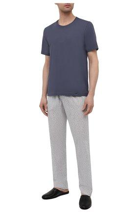 Мужская хлопковая футболка HANRO темно-синего цвета, арт. 075050 | Фото 2
