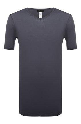 Мужская хлопковая футболка HANRO темно-синего цвета, арт. 073000 | Фото 1