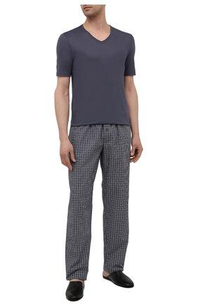 Мужская хлопковая футболка HANRO темно-синего цвета, арт. 073000 | Фото 2