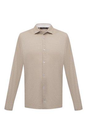 Мужская льняная рубашка LORO PIANA бежевого цвета, арт. FAL6917 | Фото 1 (Случай: Повседневный; Стили: Кэжуэл; Длина (для топов): Стандартные; Материал внешний: Лен; Рукава: Длинные)