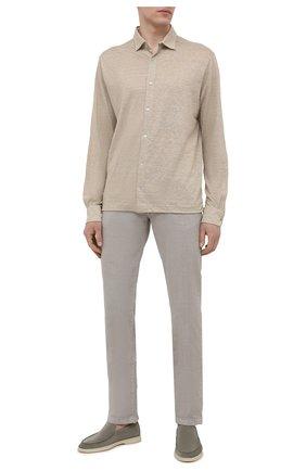 Мужская льняная рубашка LORO PIANA бежевого цвета, арт. FAL6917 | Фото 2 (Случай: Повседневный; Стили: Кэжуэл; Длина (для топов): Стандартные; Материал внешний: Лен; Рукава: Длинные)