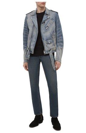 Мужская джинсовая куртка AMIRI синего цвета, арт. MDT007-408 | Фото 2 (Кросс-КТ: Деним, Куртка; Длина (верхняя одежда): Короткие; Материал внешний: Хлопок; Рукава: Длинные; Стили: Гранж)