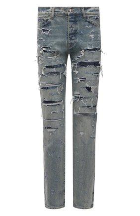 Мужские джинсы AMIRI синего цвета, арт. MDR001-405 | Фото 1 (Кросс-КТ: Деним; Длина (брюки, джинсы): Стандартные; Детали: Потертости; Стили: Гранж; Силуэт М (брюки): Прямые; Материал внешний: Хлопок)