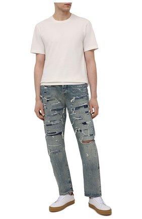 Мужские джинсы AMIRI синего цвета, арт. MDR001-405 | Фото 2 (Кросс-КТ: Деним; Длина (брюки, джинсы): Стандартные; Детали: Потертости; Стили: Гранж; Силуэт М (брюки): Прямые; Материал внешний: Хлопок)