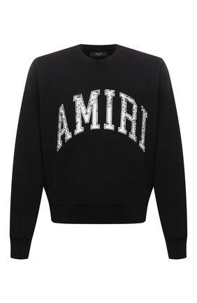 Мужской хлопковый свитшот AMIRI черного цвета, арт. MJSC001-001 | Фото 1 (Материал внешний: Хлопок; Рукава: Длинные; Длина (для топов): Стандартные; Стили: Гранж; Принт: С принтом; Мужское Кросс-КТ: свитшот-одежда)