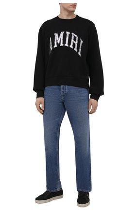 Мужской хлопковый свитшот AMIRI черного цвета, арт. MJSC001-001 | Фото 2 (Материал внешний: Хлопок; Рукава: Длинные; Длина (для топов): Стандартные; Стили: Гранж; Принт: С принтом; Мужское Кросс-КТ: свитшот-одежда)