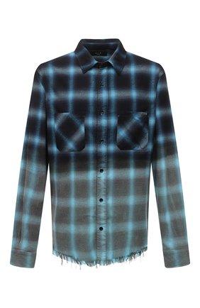 Мужская рубашка из хлопка и вискозы AMIRI синего цвета, арт. MSL008-440 | Фото 1 (Стили: Гранж; Манжеты: На пуговицах; Воротник: Кент; Материал внешний: Вискоза, Хлопок; Принт: Клетка; Рукава: Длинные; Случай: Повседневный; Длина (для топов): Стандартные)