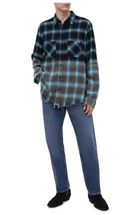 Мужская рубашка из хлопка и вискозы AMIRI синего цвета, арт. MSL008-440 | Фото 2 (Стили: Гранж; Манжеты: На пуговицах; Воротник: Кент; Материал внешний: Вискоза, Хлопок; Принт: Клетка; Рукава: Длинные; Случай: Повседневный; Длина (для топов): Стандартные)