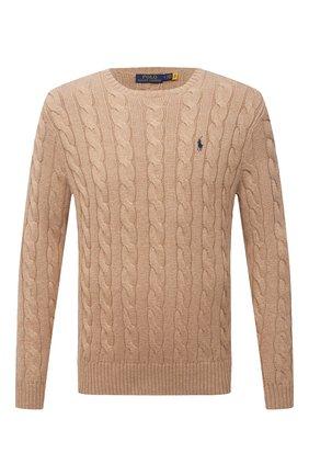 Мужской хлопковый свитер POLO RALPH LAUREN бежевого цвета, арт. 710775885 | Фото 1