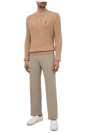 Мужской хлопковый свитер POLO RALPH LAUREN бежевого цвета, арт. 710775885 | Фото 2