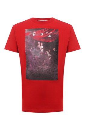 Мужская хлопковая футболка OFF-WHITE красного цвета, арт. 0MAA027S21JER010 | Фото 1 (Материал внешний: Хлопок; Стили: Гранж; Принт: С принтом; Длина (для топов): Стандартные; Рукава: Короткие)
