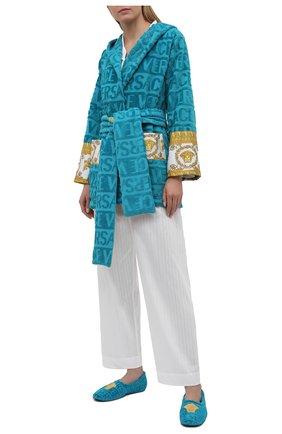 Женского текстильные слиперы VERSACE бирюзового цвета, арт. ZSL000001/ZC0SP052   Фото 2