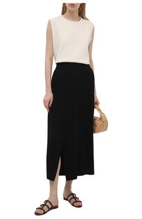 Женские кожаные шлепанцы rockstud VALENTINO темно-коричневого цвета, арт. VW0S0C49/YPX | Фото 2 (Каблук высота: Низкий; Подошва: Плоская; Материал внутренний: Натуральная кожа)