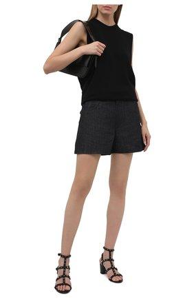 Женские кожаные босоножки rockstud VALENTINO черного цвета, арт. VW0S0491/GEV   Фото 2