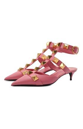Женские кожаные туфли valentino garavani roman stud runway VALENTINO розового цвета, арт. VW0S0CB3/ZWM   Фото 1