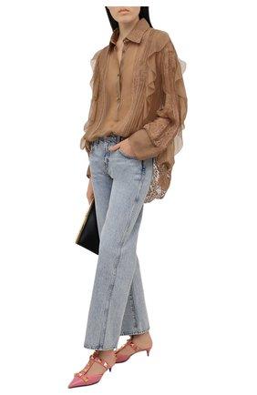Женские кожаные туфли valentino garavani roman stud runway VALENTINO розового цвета, арт. VW0S0CB3/ZWM   Фото 2