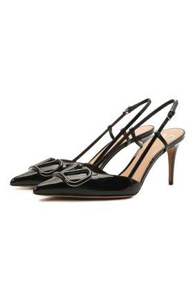 Женские кожаные туфли vlogo signature VALENTINO черного цвета, арт. VW0S0R01/TMK | Фото 1