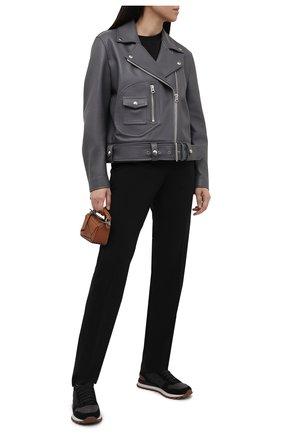 Женские комбинированные кроссовки BRUNELLO CUCINELLI черного цвета, арт. MZSFG1960P | Фото 2 (Материал внутренний: Текстиль; Материал внешний: Текстиль; Подошва: Платформа)