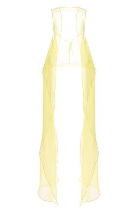 Женский шелковый топ DRIES VAN NOTEN желтого цвета, арт. 211-10744-2360 | Фото 1 (Материал внешний: Шелк; Кросс-КТ: без рукавов; Стили: Бохо; Длина (для топов): Удлиненные)