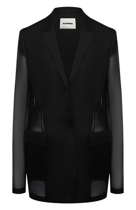 Женский шелковый жакет JIL SANDER черного цвета, арт. JSWS135026-WS282500   Фото 1