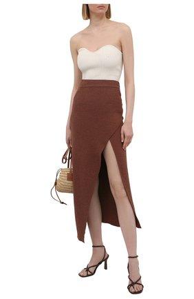 Женская хлопковая юбка NANUSHKA коричневого цвета, арт. AINSLEY_NUTMEG_TERRY KNIT   Фото 2