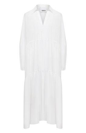 Женское хлопковое платье ERIKA CAVALLINI белого цвета, арт. S1/P/P1SU04 | Фото 1 (Материал внешний: Хлопок; Длина Ж (юбки, платья, шорты): Миди; Женское Кросс-КТ: Платье-одежда, платье-рубашка; Стили: Кэжуэл; Случай: Повседневный; Рукава: Длинные)