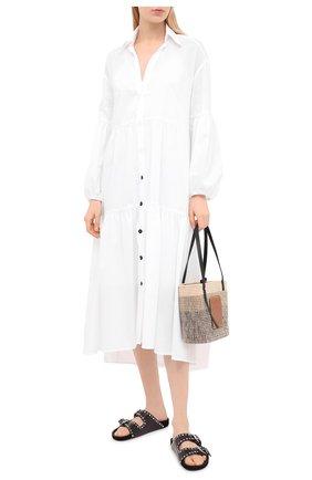 Женское хлопковое платье ERIKA CAVALLINI белого цвета, арт. S1/P/P1SU04 | Фото 2