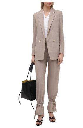 Женские шерстяные брюки ERIKA CAVALLINI бежевого цвета, арт. S1/P/P1SN04 | Фото 2