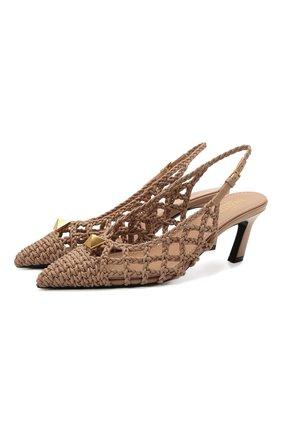 Женские кожаные туфли roman stud VALENTINO бежевого цвета, арт. VW0S0BV7/MEV | Фото 1 (Материал внутренний: Натуральная кожа; Каблук высота: Средний; Подошва: Плоская; Каблук тип: Шпилька)
