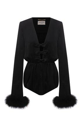 Женское шелковое боди с отделкой перьями SAINT LAURENT черного цвета, арт. 661736/Y720W   Фото 1