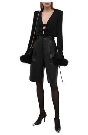 Женское шелковое боди с отделкой перьями SAINT LAURENT черного цвета, арт. 661736/Y720W   Фото 2