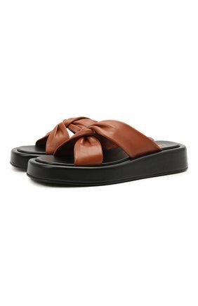 Женские кожаные шлепанцы tresse ELLEME коричневого цвета, арт. TRESSE PLATF0RM/LEATHER | Фото 1