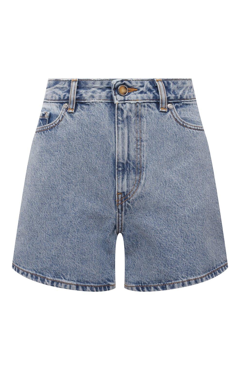 Женские джинсовые шорты GANNI голубого цвета, арт. F5789 | Фото 1 (Женское Кросс-КТ: Шорты-одежда; Кросс-КТ: Деним; Длина Ж (юбки, платья, шорты): Мини; Стили: Гранж; Материал внешний: Хлопок)