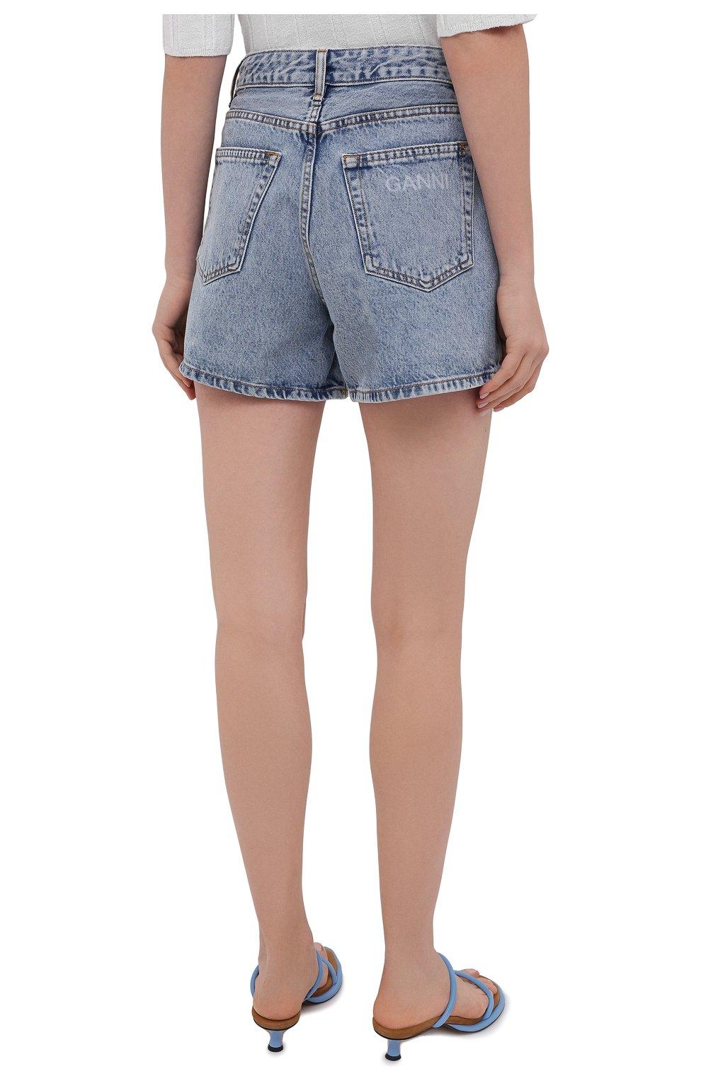 Женские джинсовые шорты GANNI голубого цвета, арт. F5789 | Фото 4 (Женское Кросс-КТ: Шорты-одежда; Кросс-КТ: Деним; Длина Ж (юбки, платья, шорты): Мини; Стили: Гранж; Материал внешний: Хлопок)