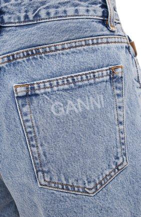 Женские джинсовые шорты GANNI голубого цвета, арт. F5789 | Фото 5 (Женское Кросс-КТ: Шорты-одежда; Кросс-КТ: Деним; Длина Ж (юбки, платья, шорты): Мини; Стили: Гранж; Материал внешний: Хлопок)