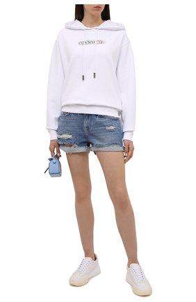 Женские джинсовые шорты FRAME DENIM синего цвета, арт. LGGSH385 | Фото 2 (Материал внешний: Хлопок, Деним; Длина Ж (юбки, платья, шорты): Мини; Женское Кросс-КТ: Шорты-одежда)
