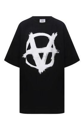 Женская хлопковая футболка VETEMENTS черного цвета, арт. UA52TR490W 1602/W   Фото 1