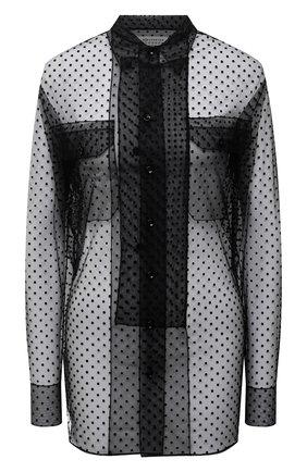 Женская блузка MAISON MARGIELA черного цвета, арт. S51DL0364/S53798 | Фото 1 (Материал внешний: Синтетический материал; Длина (для топов): Удлиненные; Рукава: Длинные; Принт: С принтом; Женское Кросс-КТ: Блуза-одежда; Стили: Романтичный)