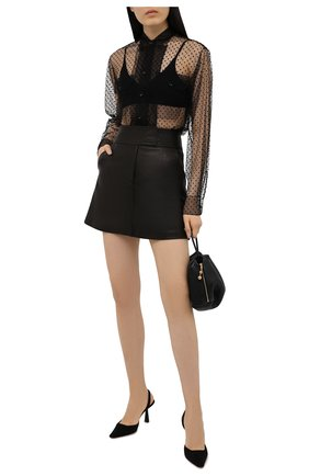 Женская блузка MAISON MARGIELA черного цвета, арт. S51DL0364/S53798 | Фото 2 (Материал внешний: Синтетический материал; Длина (для топов): Удлиненные; Рукава: Длинные; Принт: С принтом; Женское Кросс-КТ: Блуза-одежда; Стили: Романтичный)