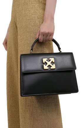 Женская сумка 2.8 jitney OFF-WHITE черного цвета, арт. 0WNP002S21LEA001 | Фото 2 (Сумки-технические: Сумки через плечо, Сумки top-handle; Материал: Натуральная кожа; Ремень/цепочка: На ремешке; Размер: small)